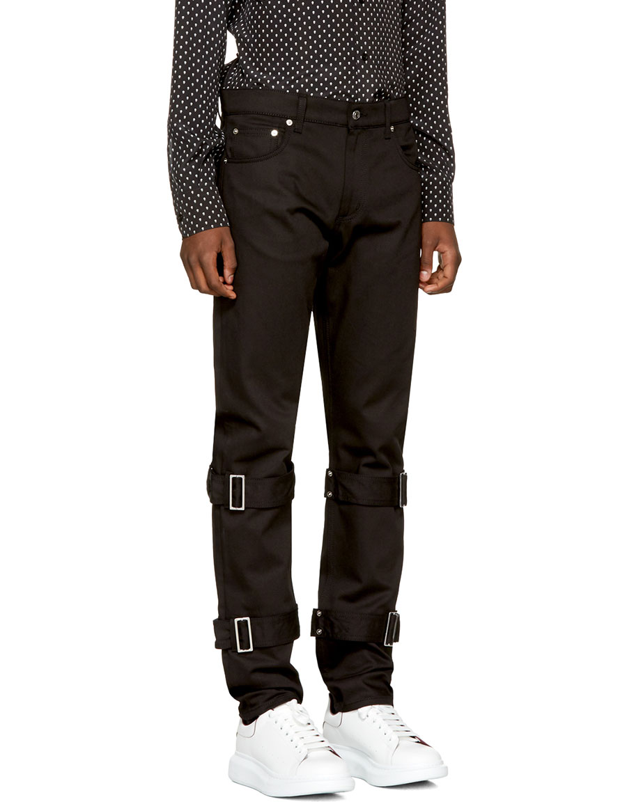 ALEXANDER MCQUEEN Black Bondage Jeans
