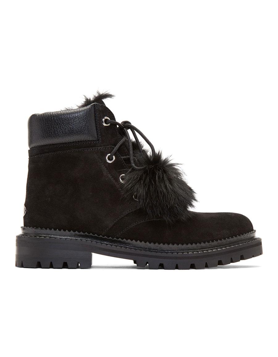JIMMY CHOO Black Suede Pom Pom Elba Boots