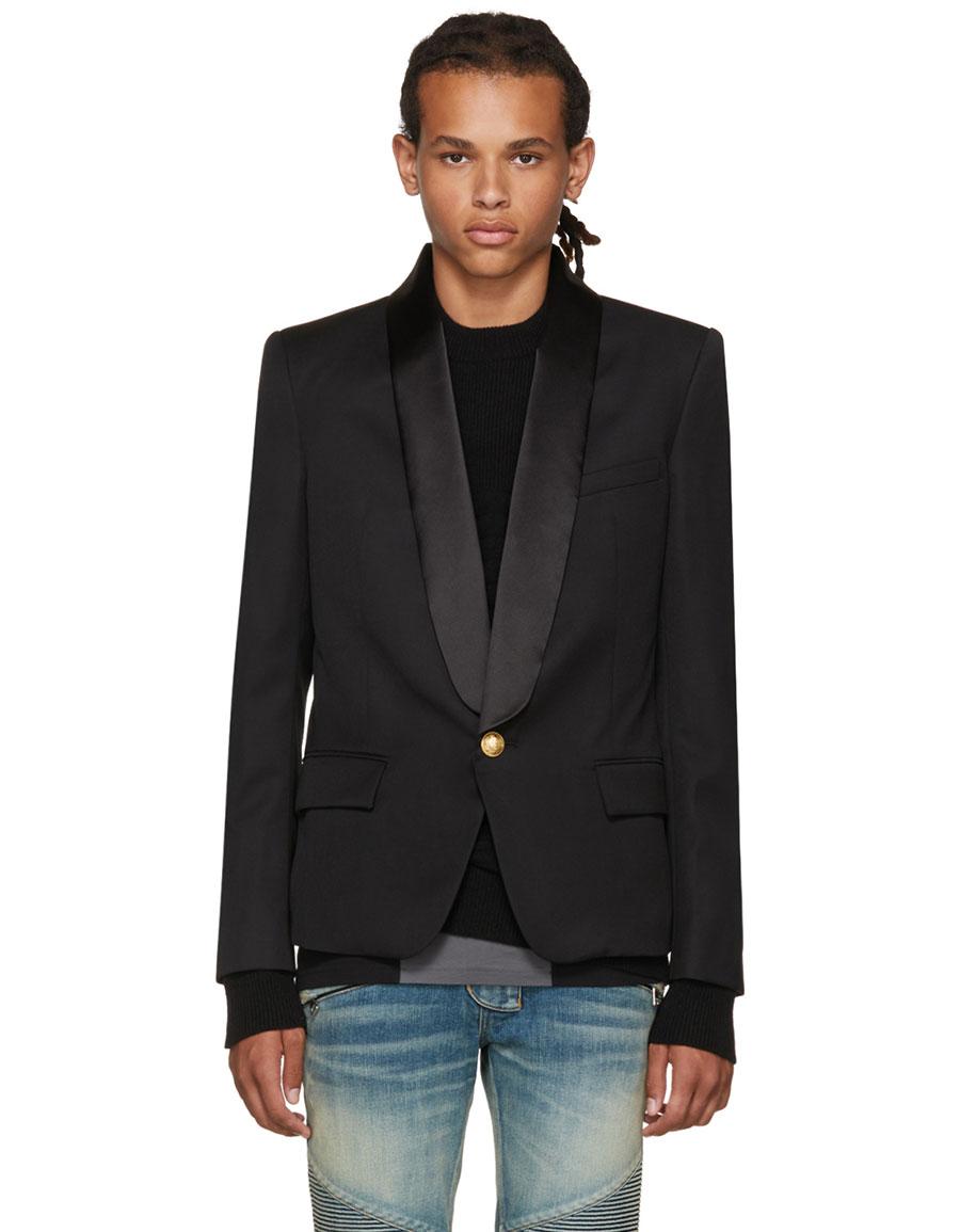 BALMAIN Black Single Button Shawl Blazer