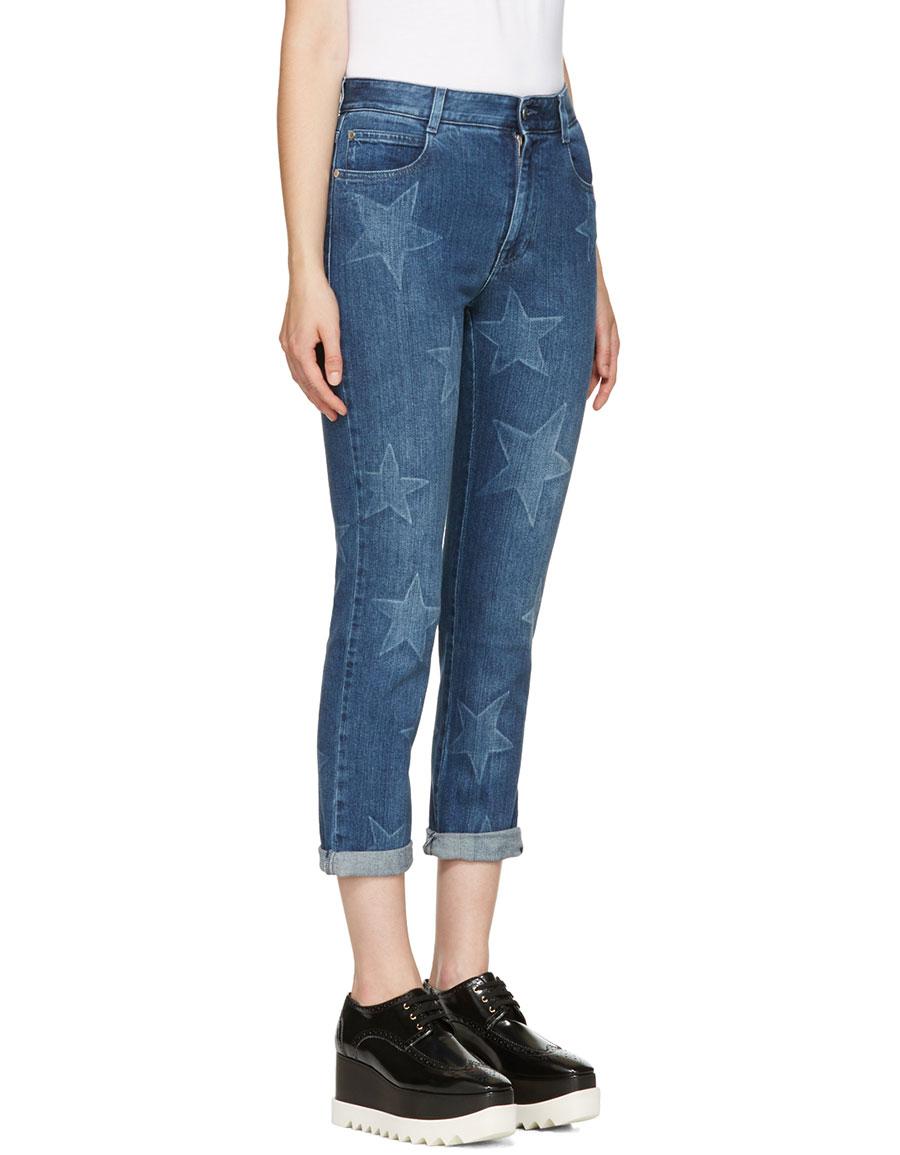 STELLA MCCARTNEY Blue Stars Cropped Boyfriend Jeans