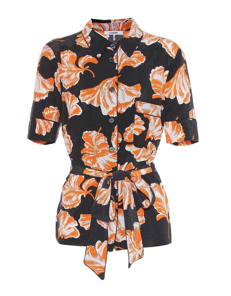 GANNI Geroux floral printed silk shirt