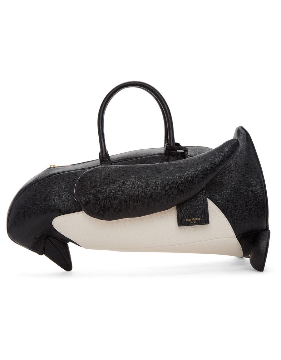 THOM BROWNE Black & White Penguin Tote