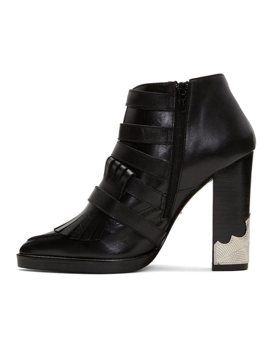 TOGA PULLA Black Heeled Five Buckle Western Boots