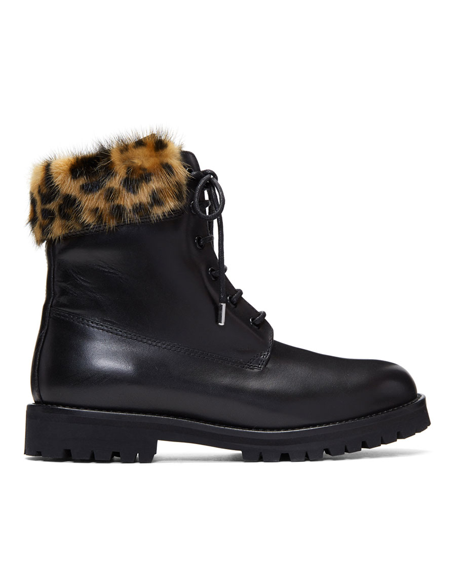 MR & MRS ITALY Black Leather & Mink Combat Boots