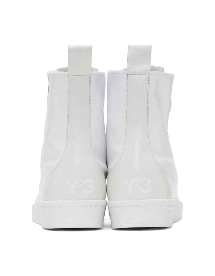Y 3 White Pro Zip High Top Sneakers