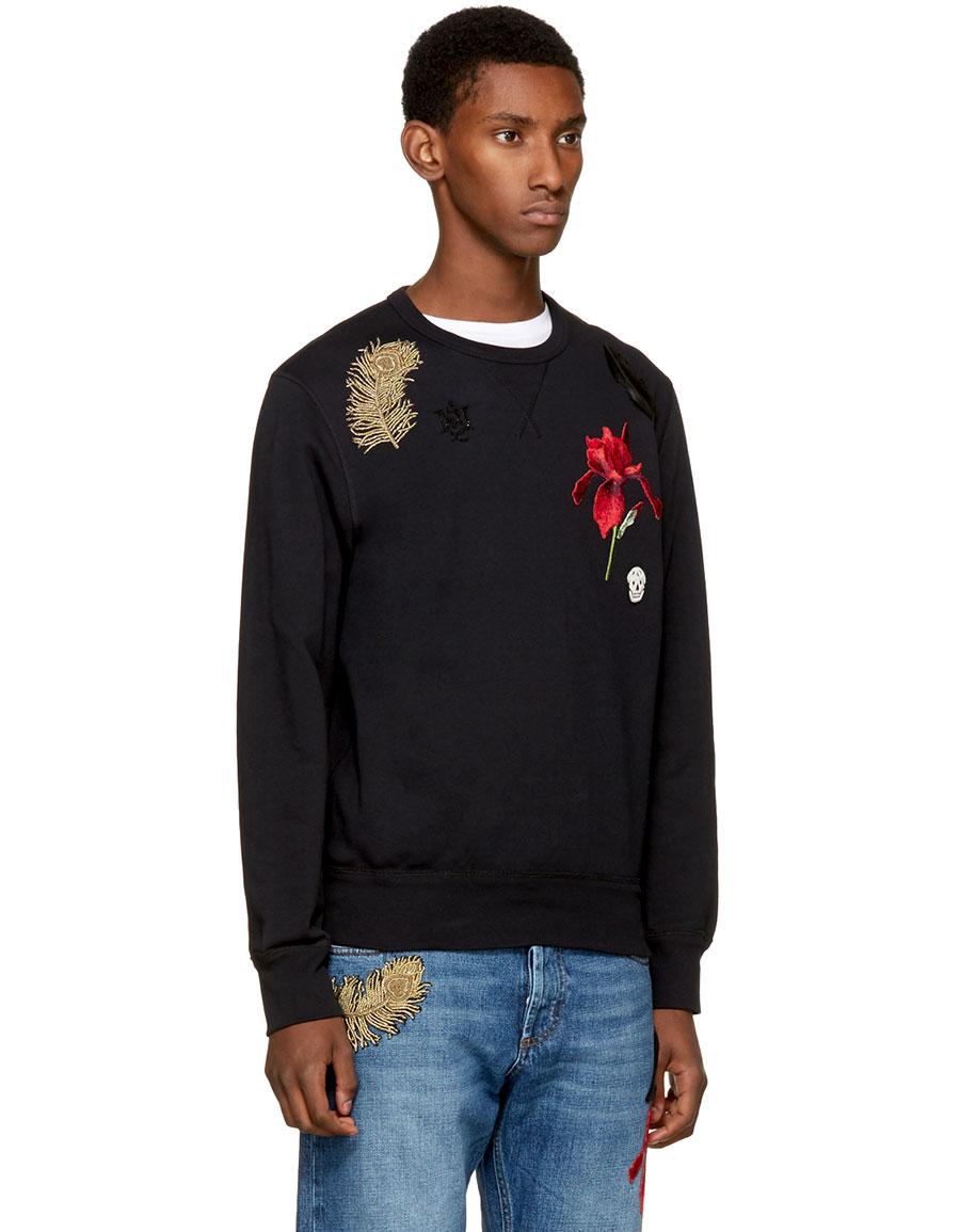ALEXANDER MCQUEEN Black Iris & Feather Patch Sweatshirt