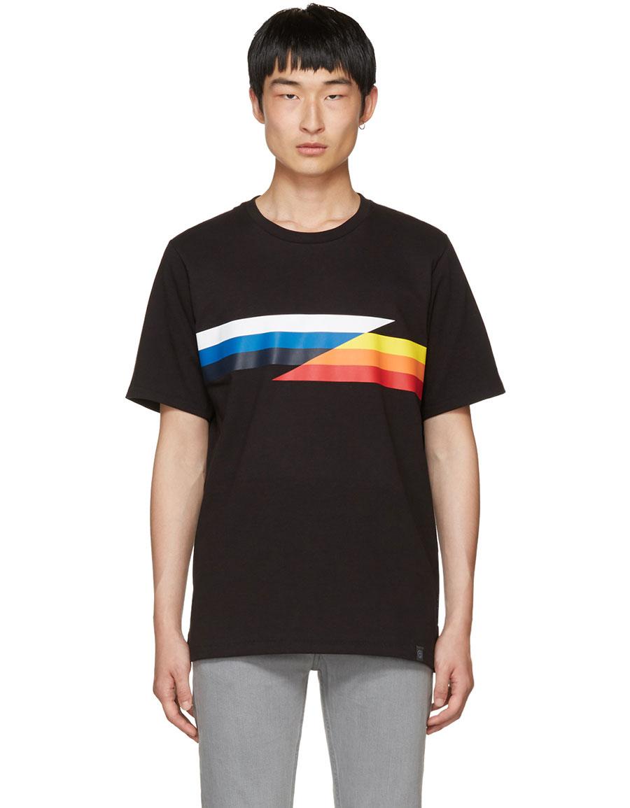RAG & BONE Black Glitch Stripe T Shirt