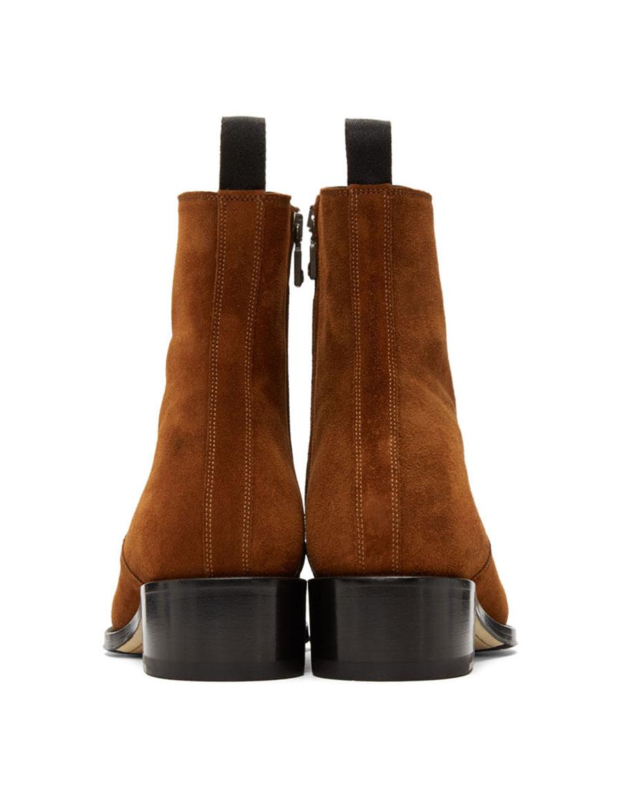 BRIONI Tan Suede Ralf Boots