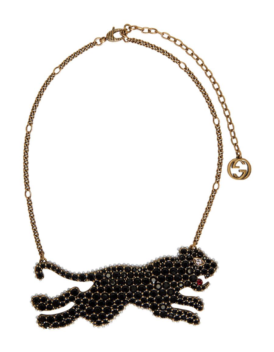 GUCCI Gold & Black Tiger Necklace