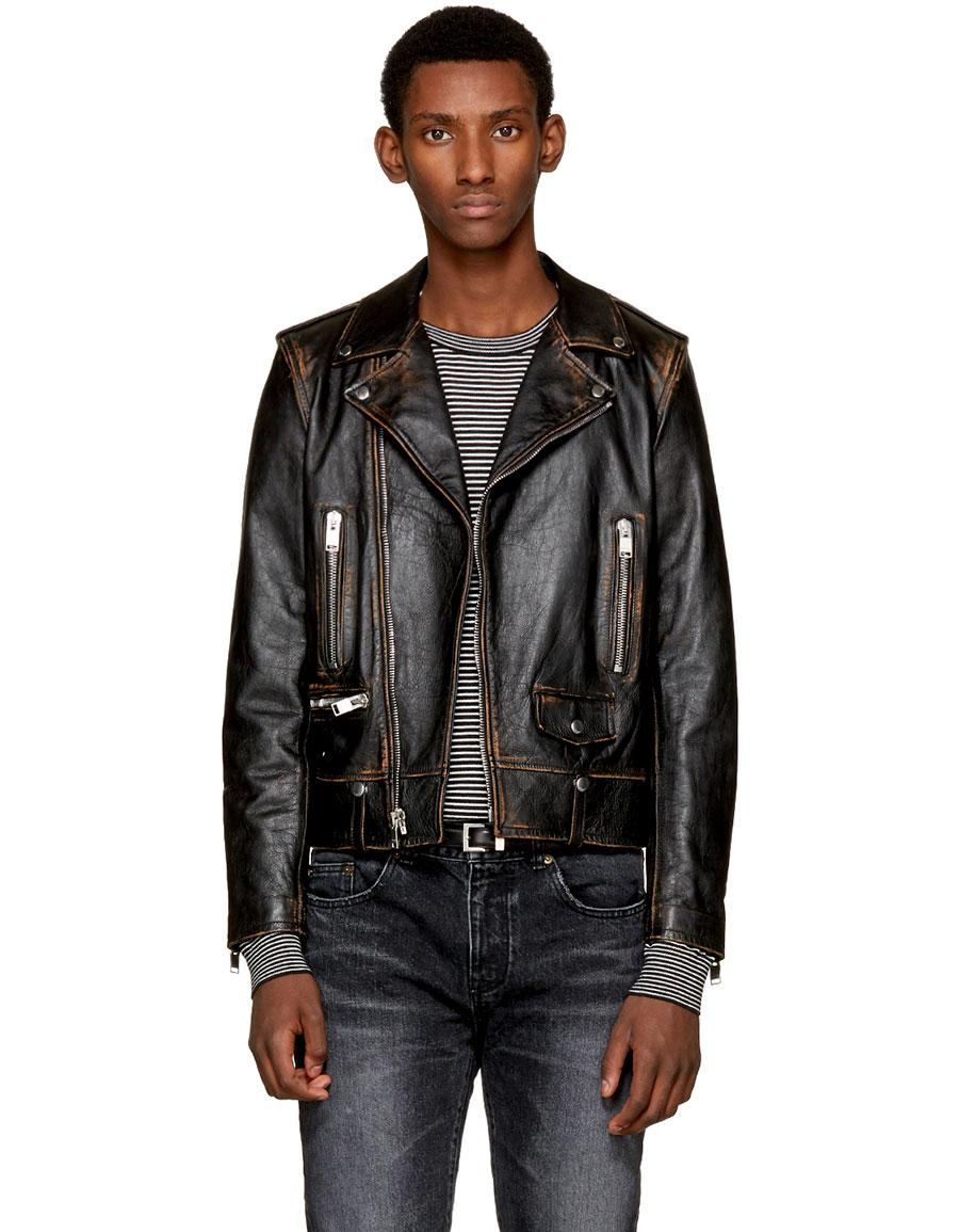 SAINT LAURENT Black Leather Bouche Motorcycle Jacket