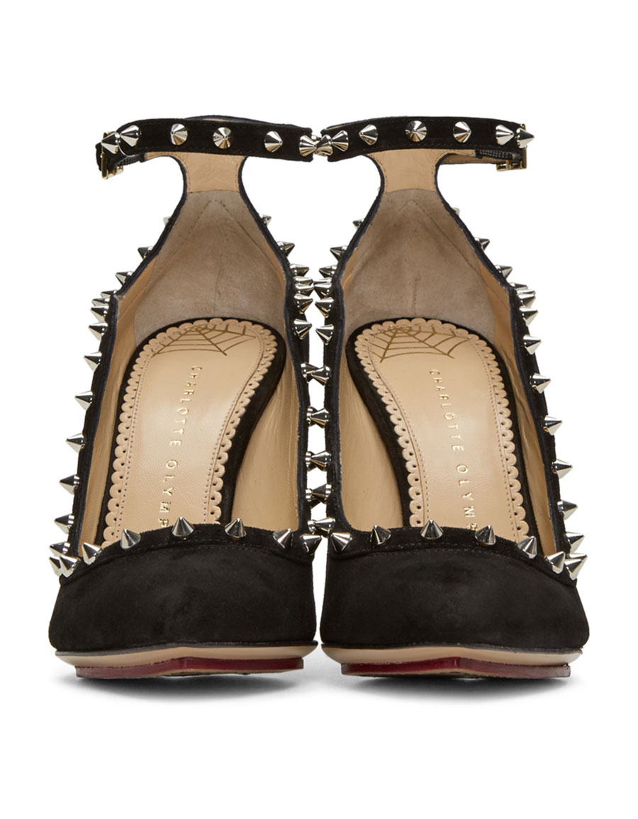 CHARLOTTE OLYMPIA Black Suede Pimlico Heels