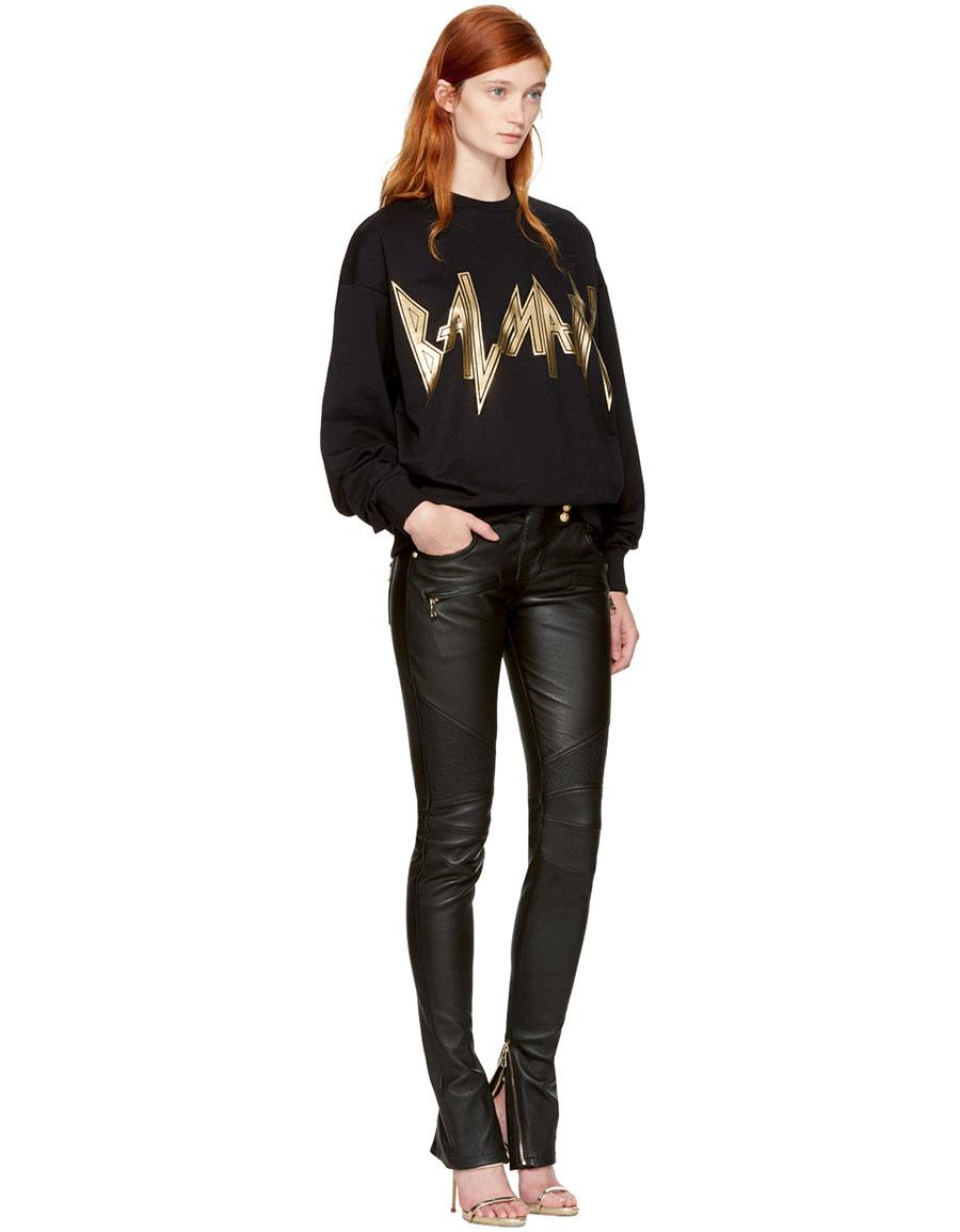 BALMAIN Black New Logo Sweatshirt