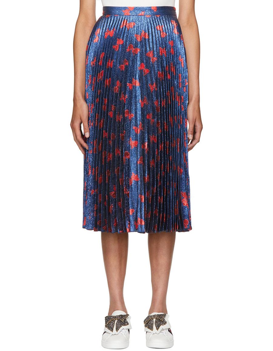 GUCCI Blue & Red Lurex Bow Plissé Skirt