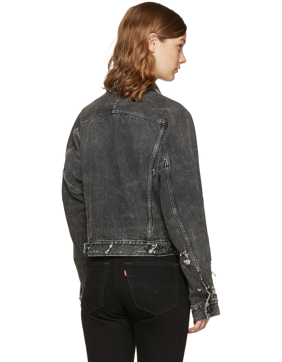 R13 Black Denim Trucker Jacket
