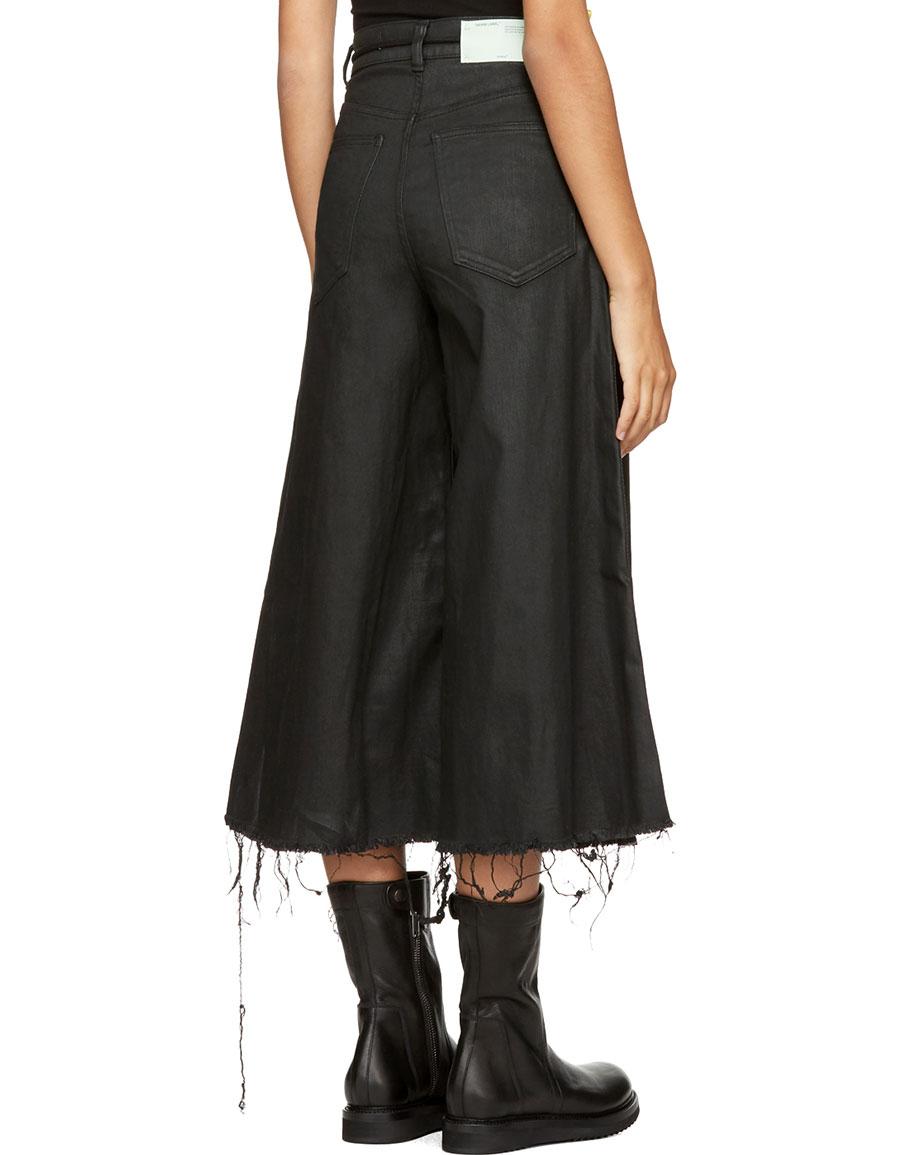 OFF WHITE Black Denim Strap Capri Jeans
