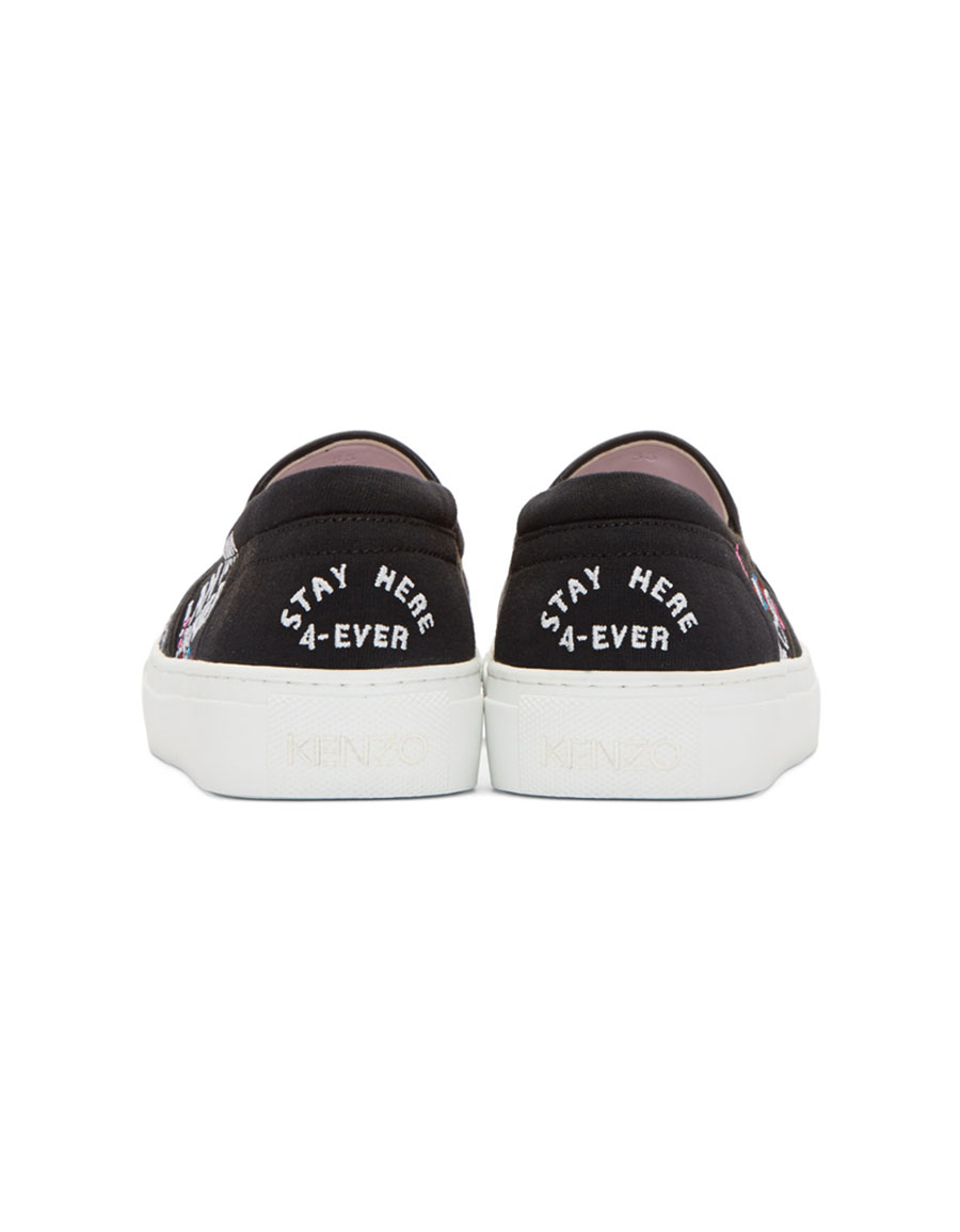 KENZO Black Limited Edition 'I Love You' K Skate Slip On Sneakers