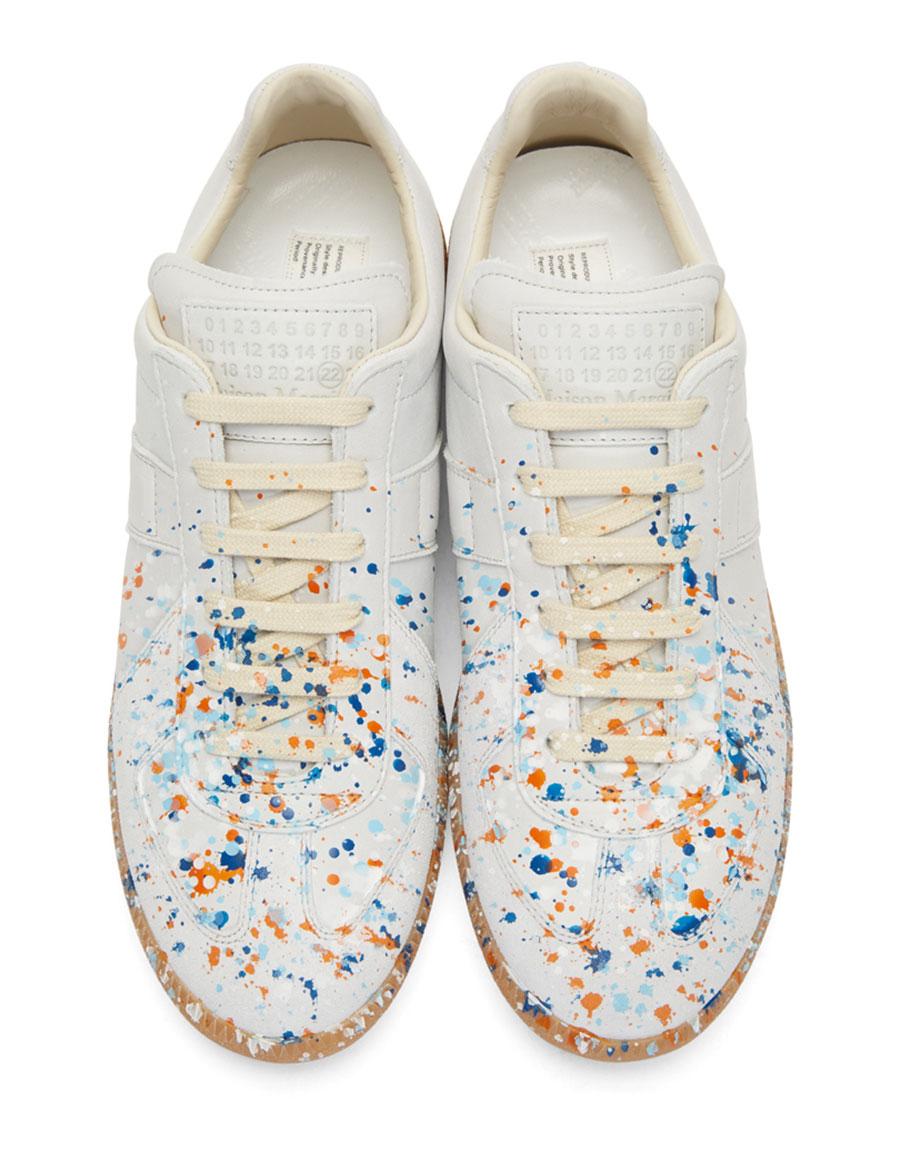 MAISON MARGIELA Off White Paint Splash Replica Sneakers