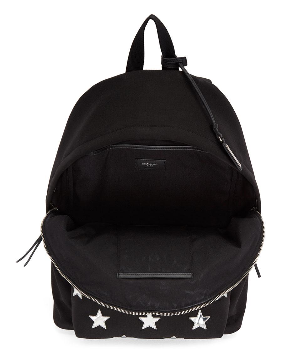 SAINT LAURENT Black California Stars City Backpack