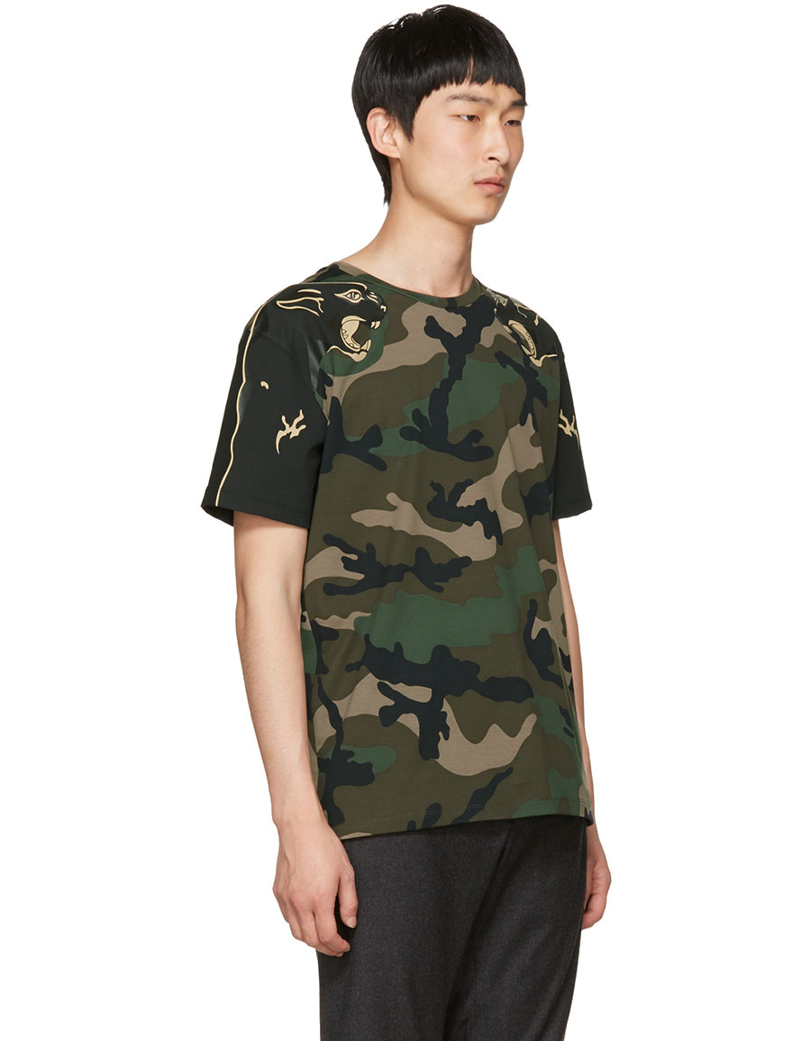 VALENTINO Green Camo Panther T Shirt