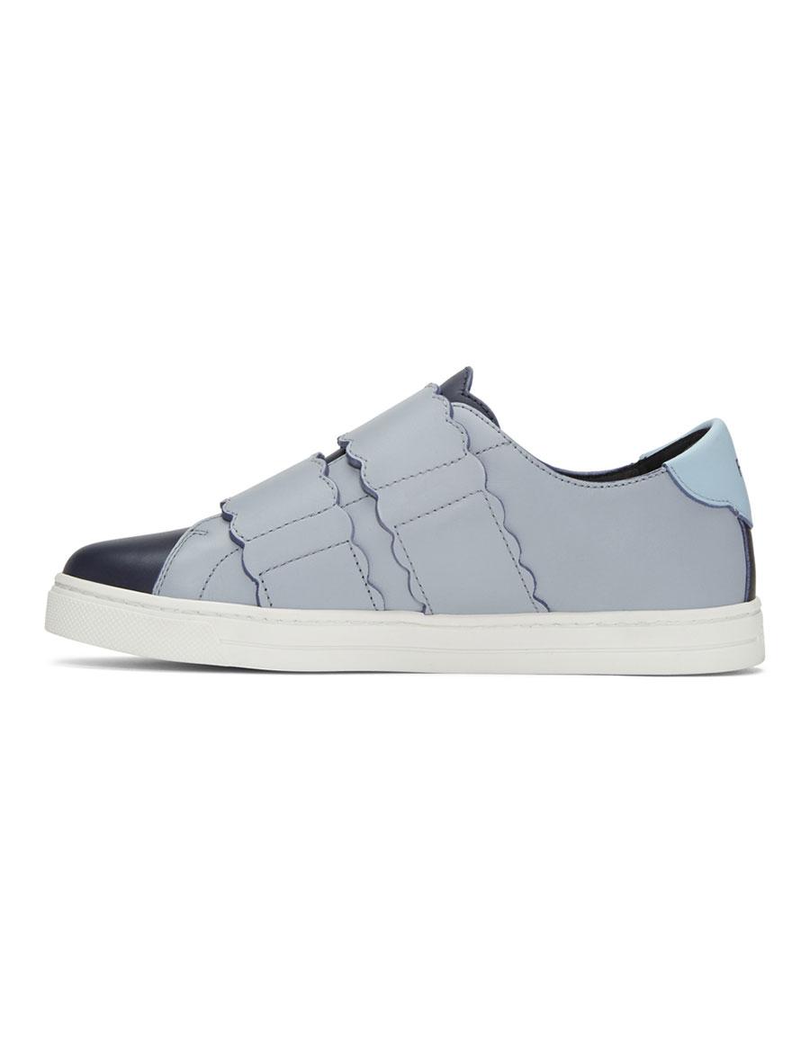 FENDI Navy Biscuit Double Strap Sneakers