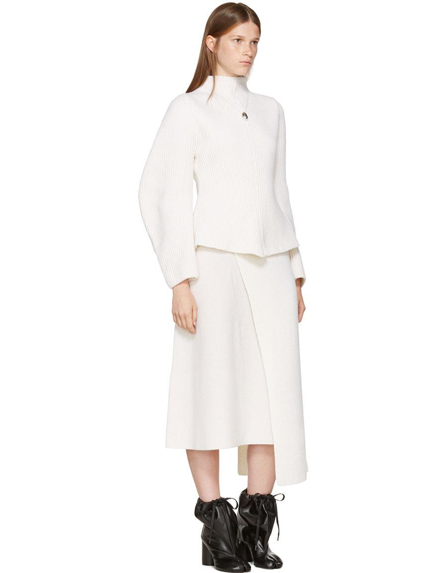 NEHERA Ivory Asymmetric Skirt