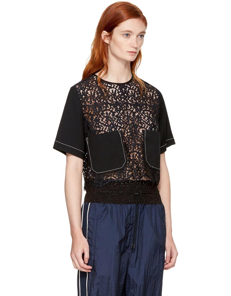 3.1 PHILLIP LIM Black Lace Combo Boxy T Shirt