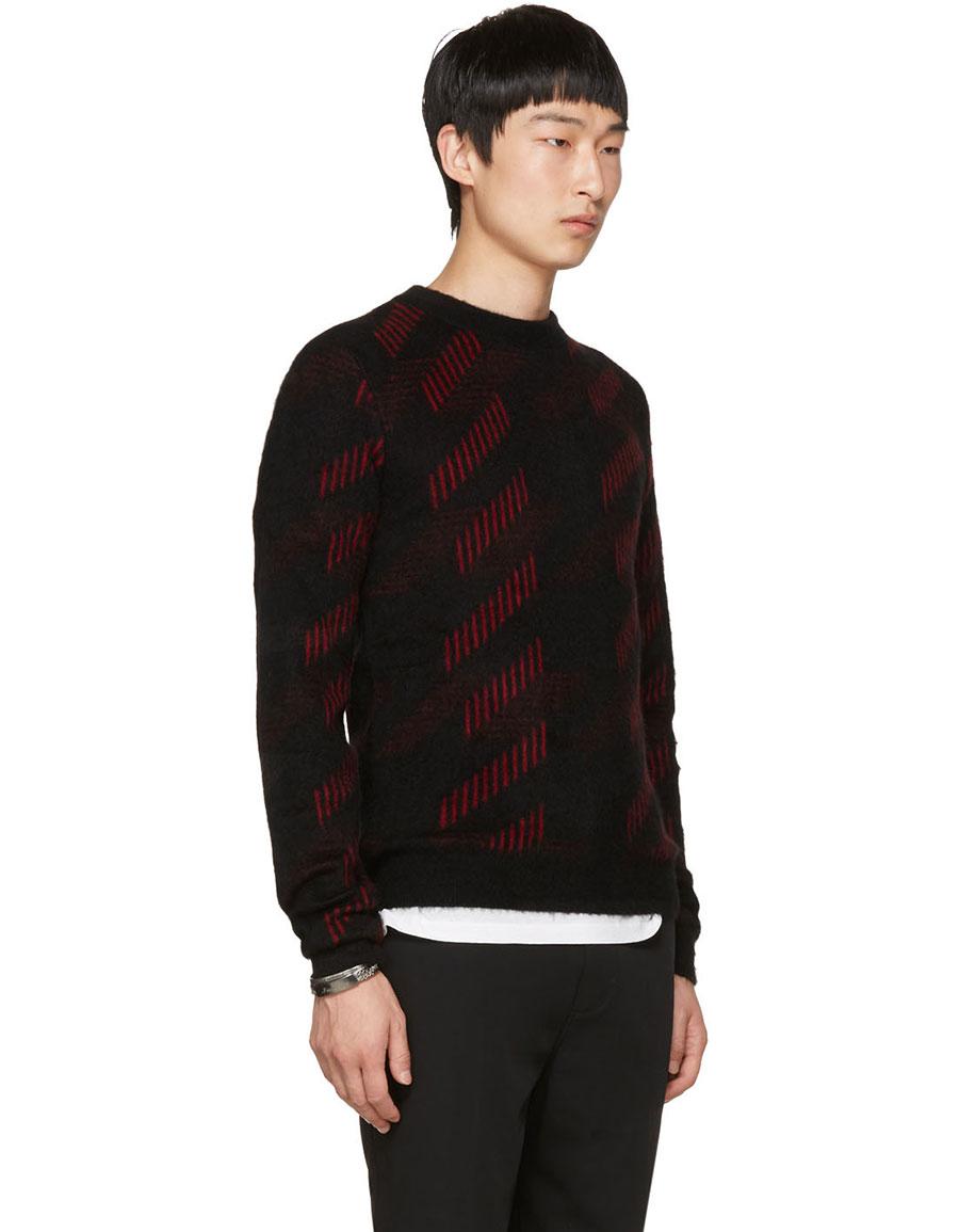 SAINT LAURENT Black & Red Striped Crewneck Sweater