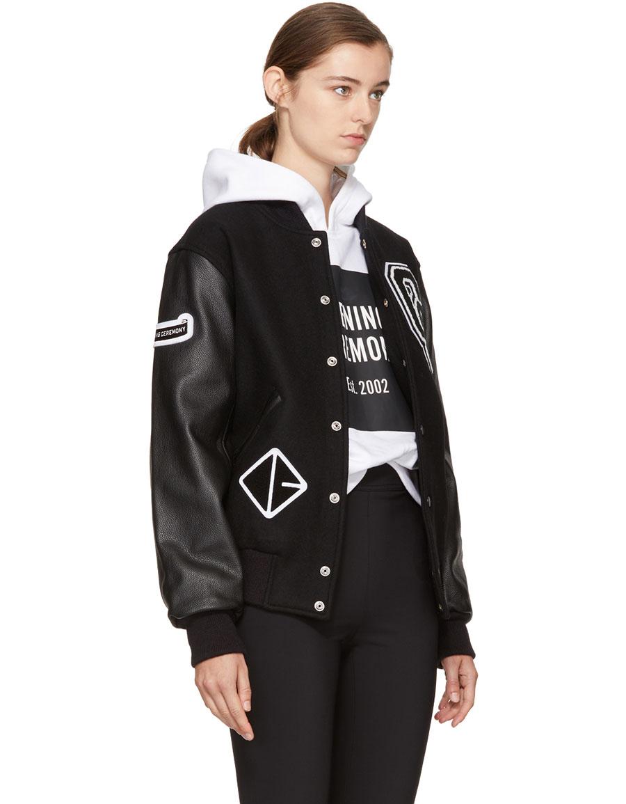 OPENING CEREMONY Black Logo Varsity Bomber Jacket