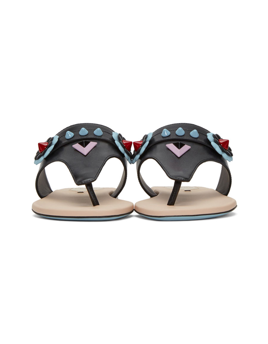 FENDI Black 'Fendi Faces' Sandals