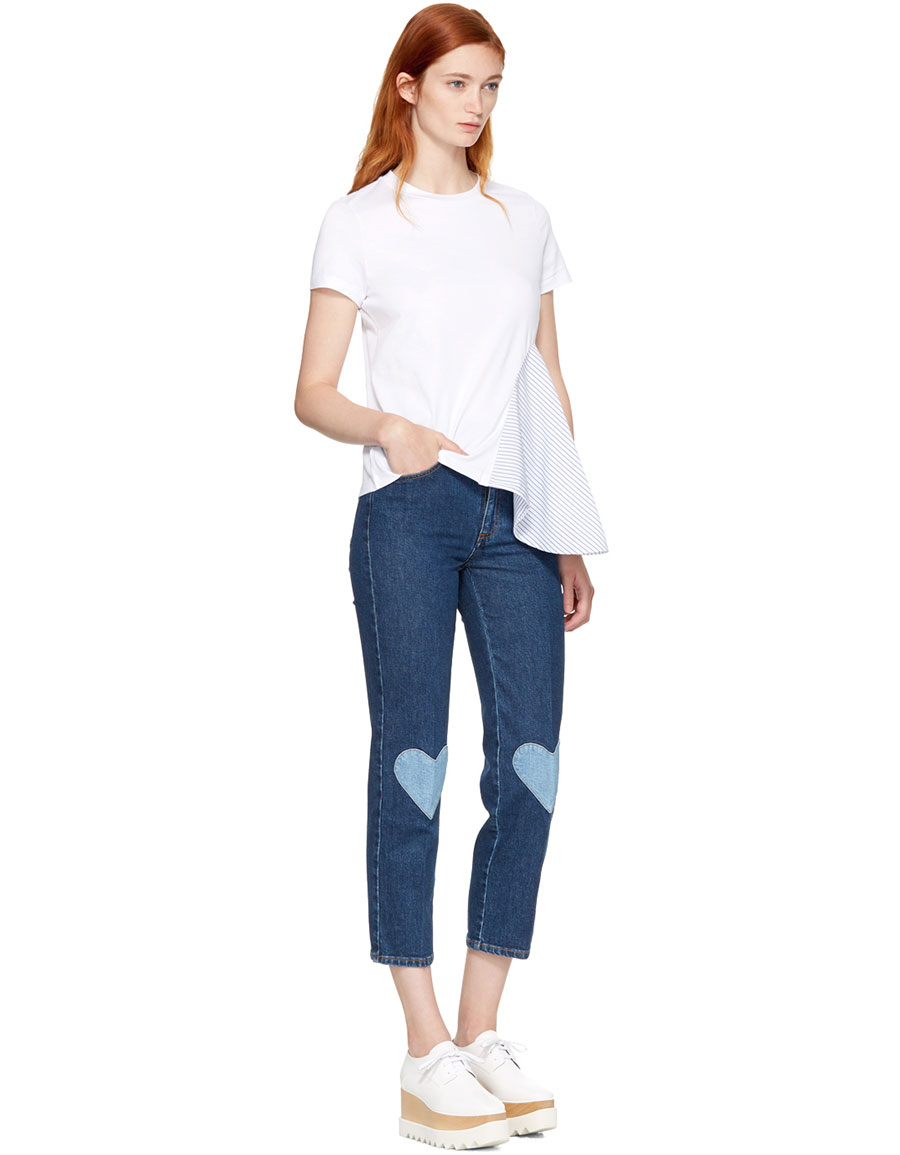 STELLA MCCARTNEY Blue High Waist Cropped Skinny Jeans