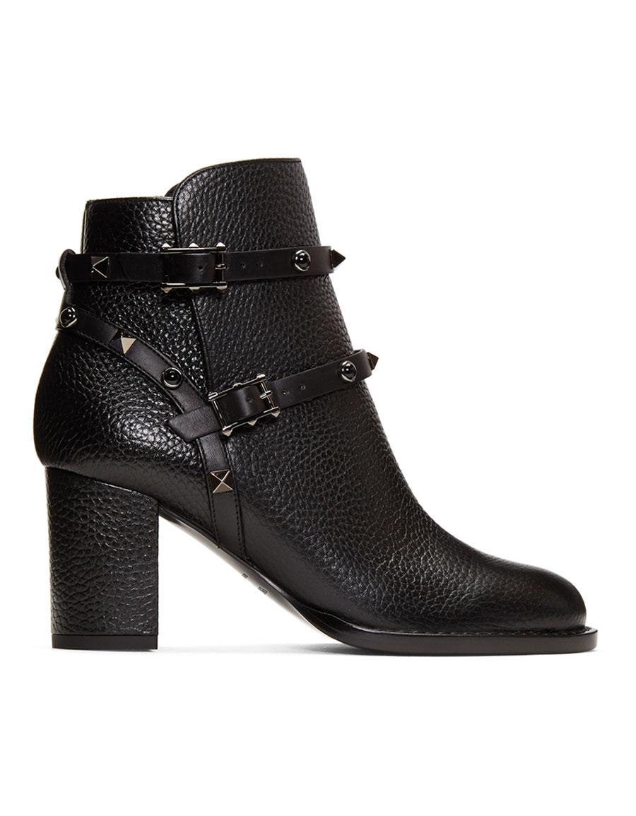 VALENTINO Black 'Rockstud Noir' Boots