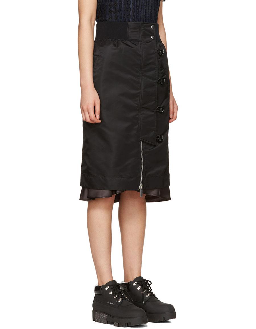 SACAI Black Nylon MA 1 Skirt