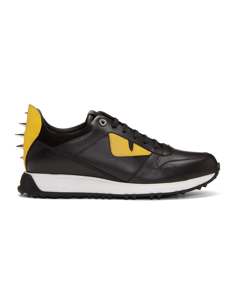FENDI Black & Yellow 'Bag Bugs' Sneakers