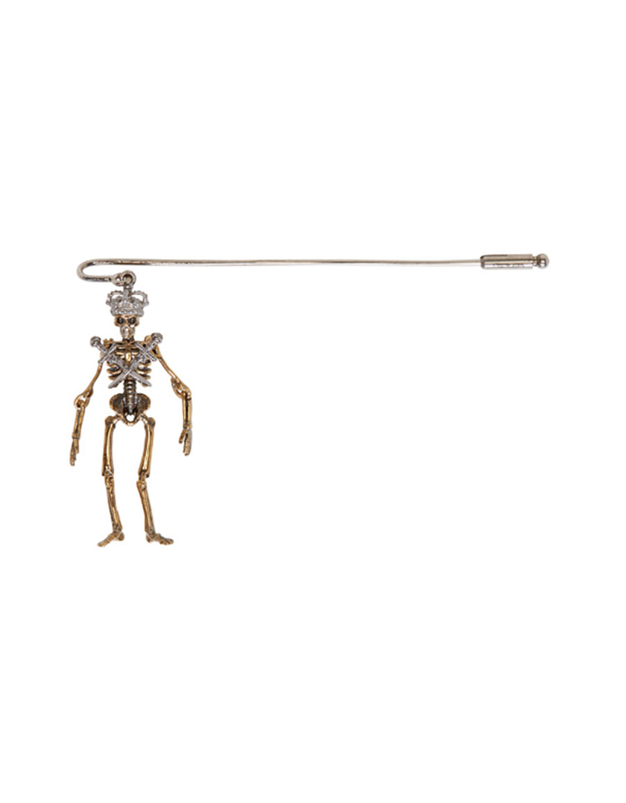 ALEXANDER MCQUEEN Gold & Silver King Skeleton Pin