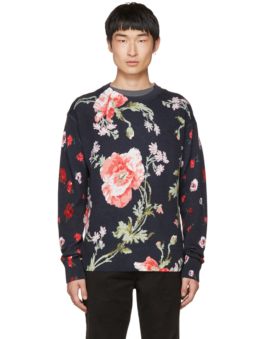 ALEXANDER MCQUEEN Navy 'Thrift Store Florals' Sweater