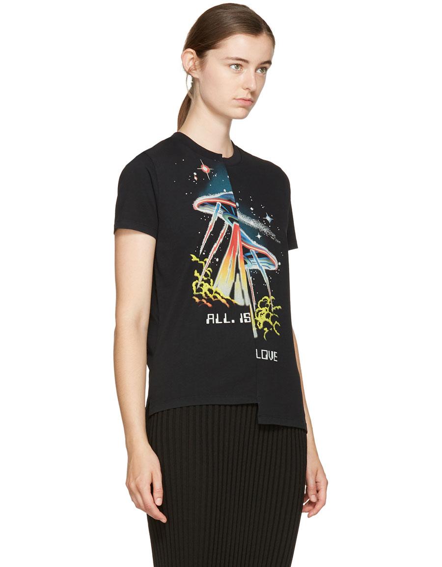 STELLA MCCARTNEY Black Asymmetric T Shirt