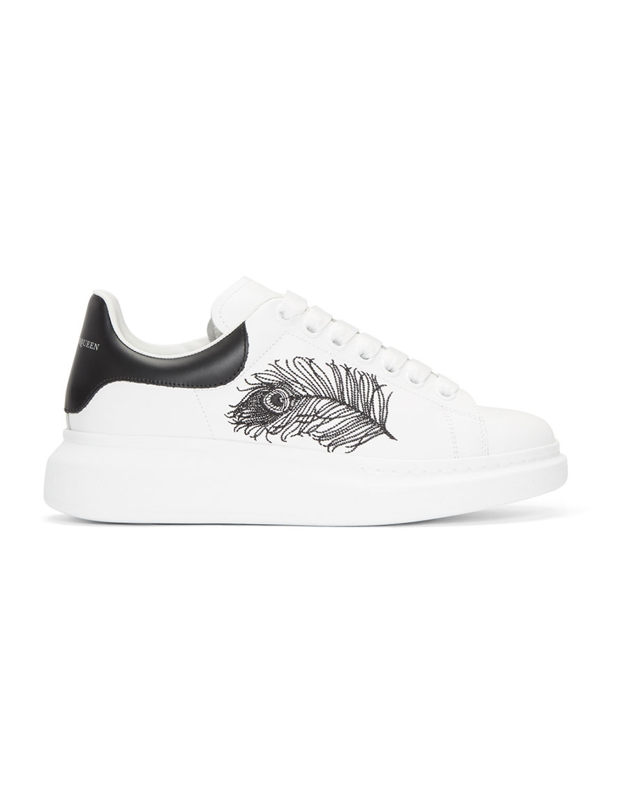 ALEXANDER MCQUEEN White & Black Peacock Feather Oversized Sneakers
