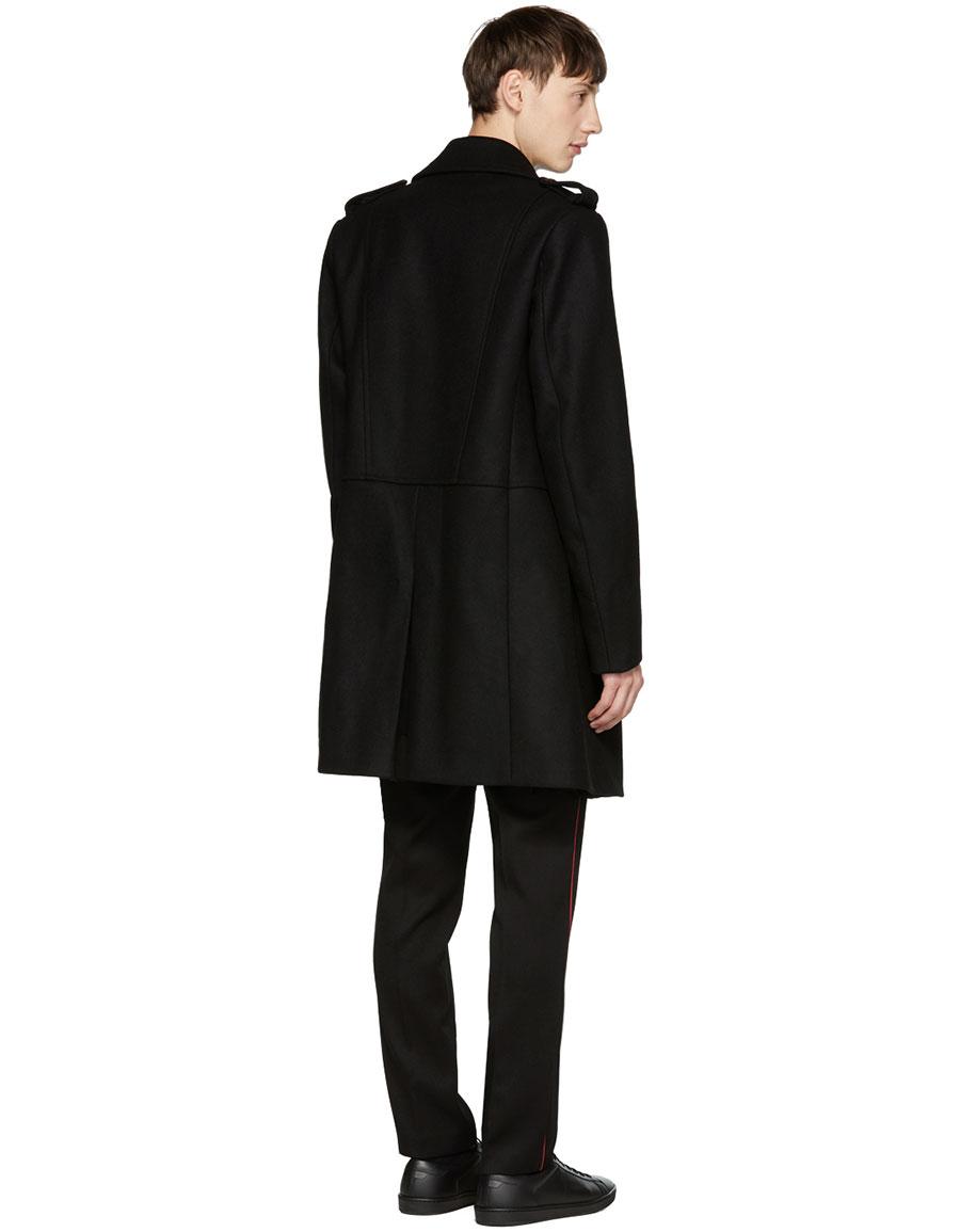BALMAIN Black Long Double Breasted Military Coat