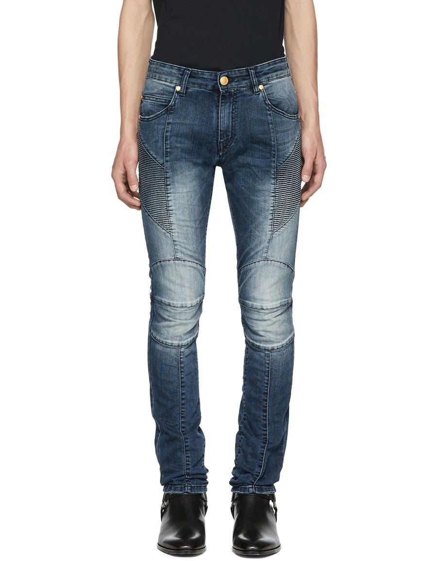 BALMAIN Blue Faded Biker Jeans