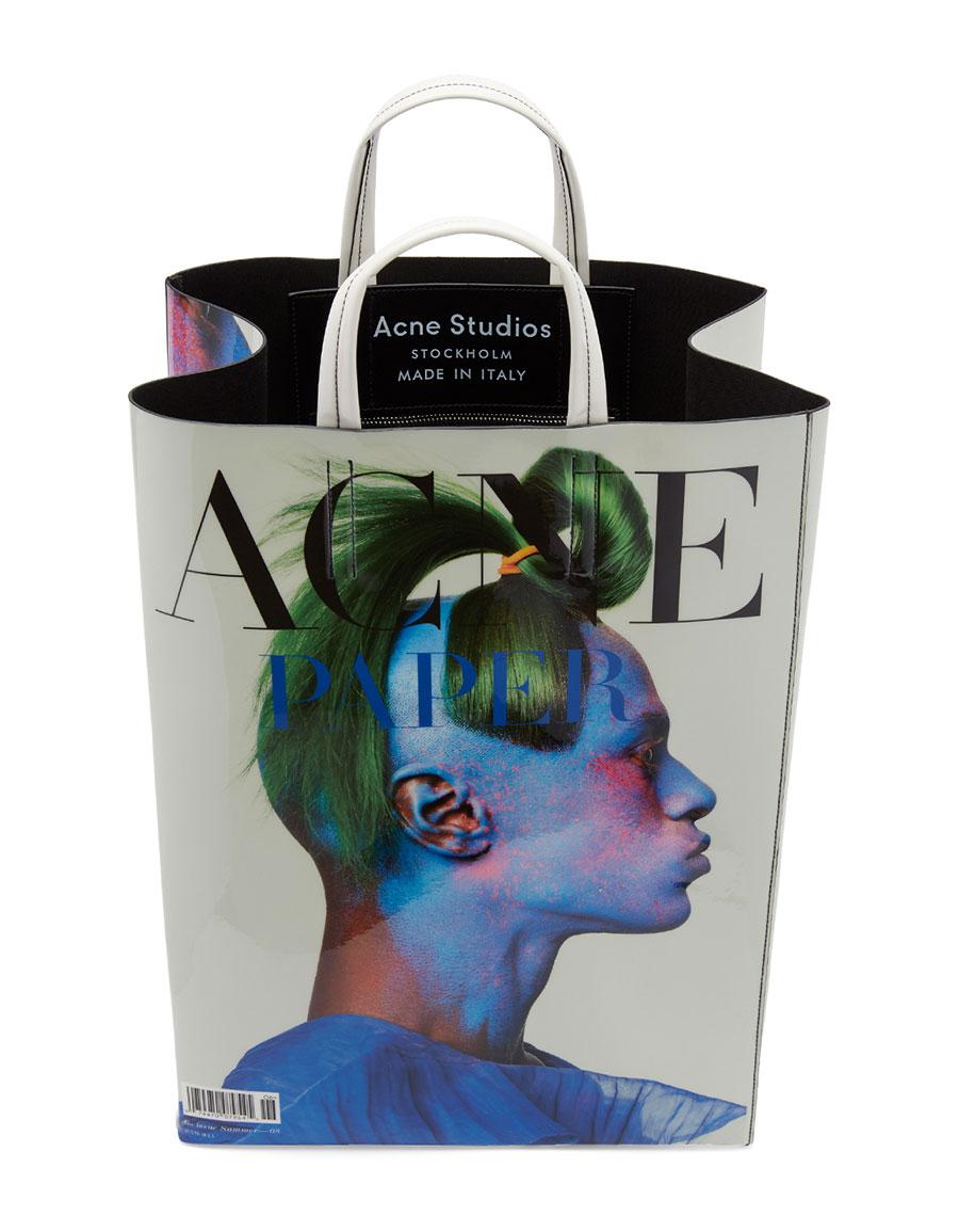 ACNE STUDIOS White Acne Paper Baker Tote