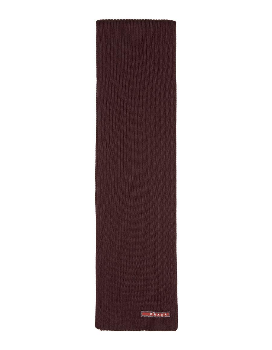 PRADA Burgundy Wool Logo Scarf