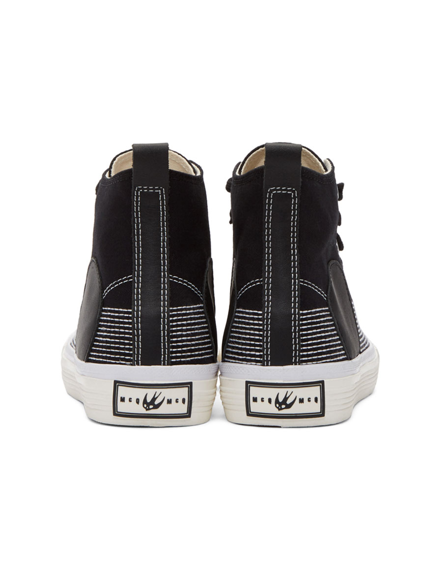 ALEXANDER MCQUEEN Black Swallow Plimsoll High Top Sneakers