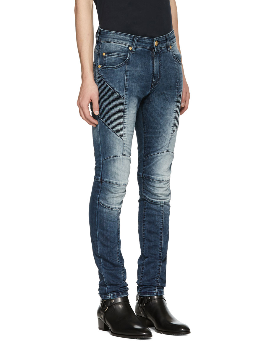 BALMAIN Blue Faded Biker Jeans