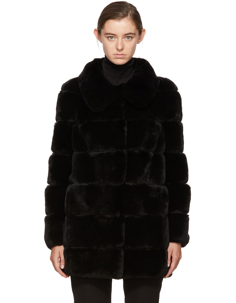 newest collection buy good cheap price YVES SALOMON, Black Ribbed Fur Coat