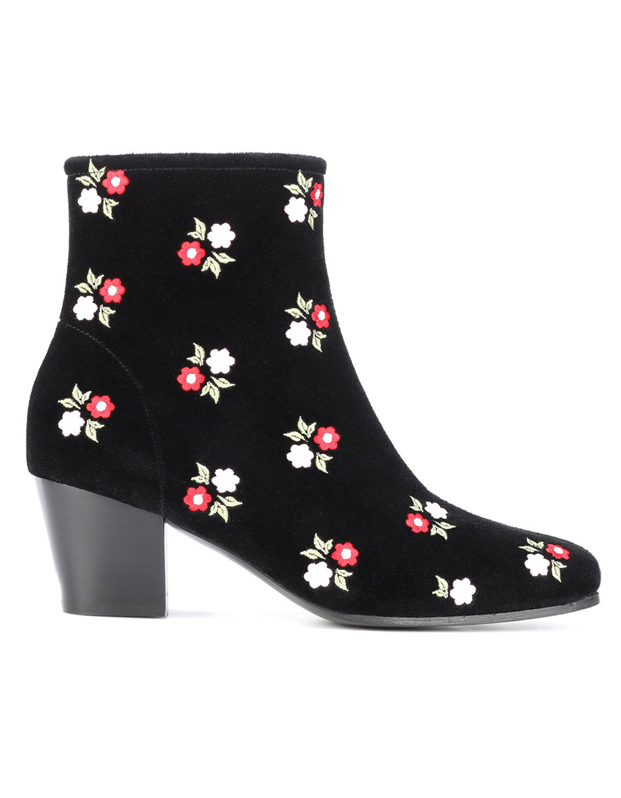 ALEXACHUNG Embroidered velvet ankle boots