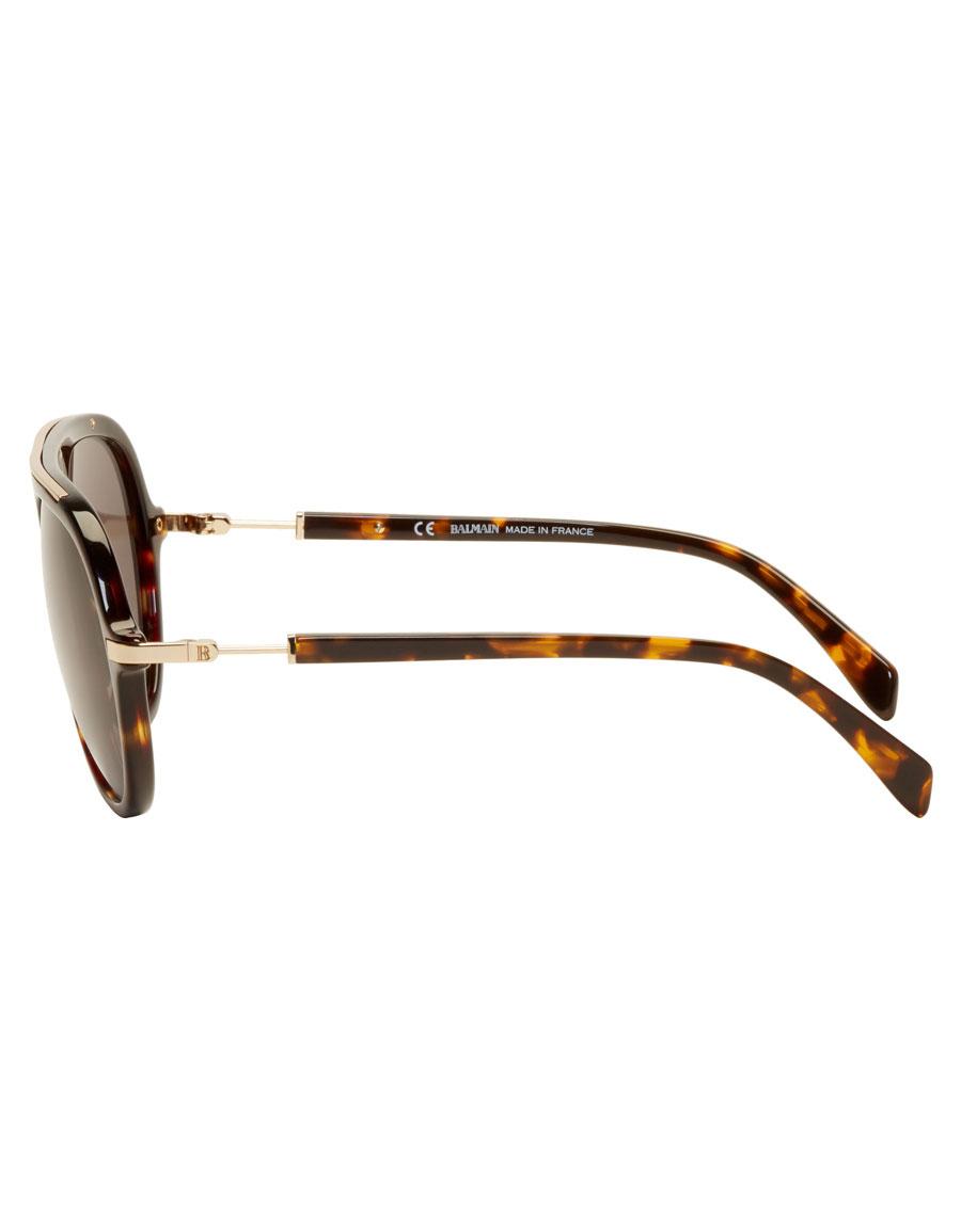 BALMAIN Tortoiseshell & Gold Aviator Sunglasses