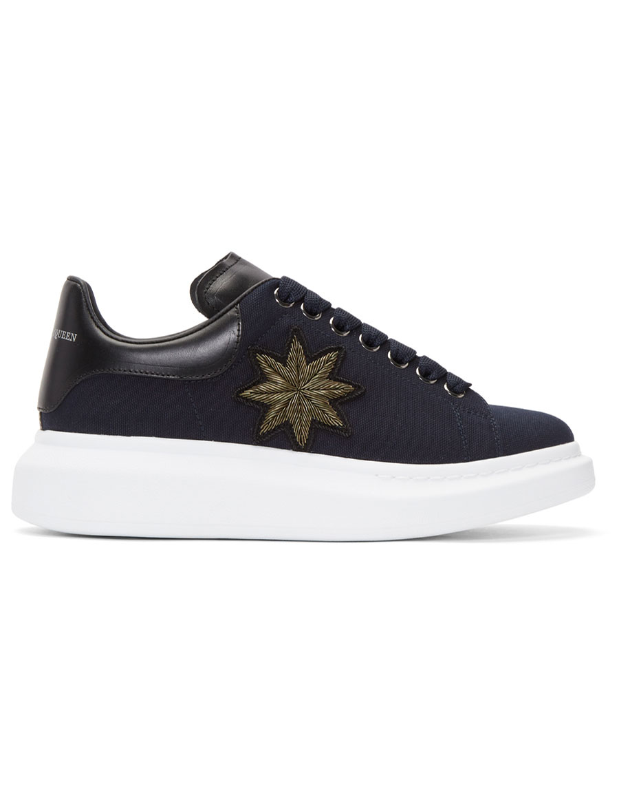 ALEXANDER MCQUEEN Navy Embroidered Oversized Sneakers