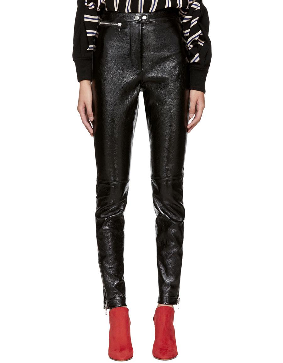 3.1 PHILLIP LIM Black Patent Leather Ankle Zip Leggings
