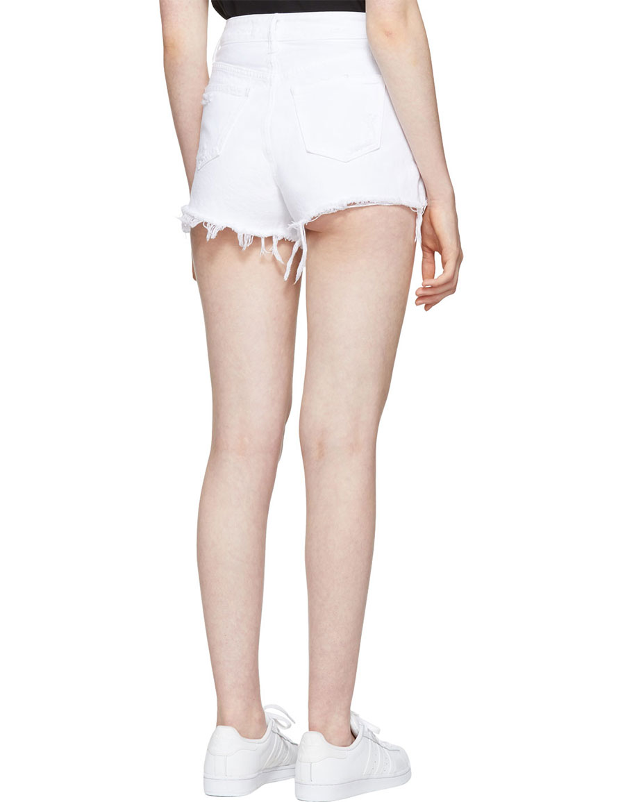 ALEXANDER WANG White Destroyed Denim Bite Shorts