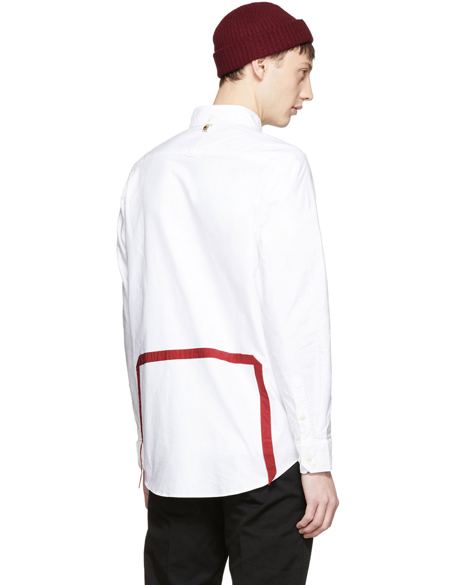 VISVIM White & Red V+V 5 Nation Shirt